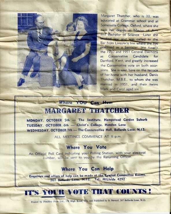 Back Cover Of A 1959 Margaret Thatcher General Election Leaflet