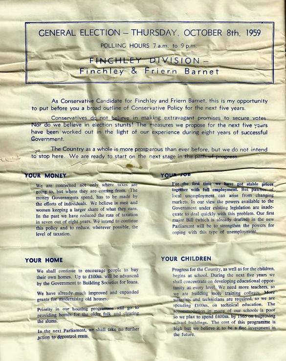 1959 Margaret Thatcher General Election Leaflet