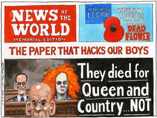 This Steve Bell cartoon is about Rupert Murdoch's paper News of the World, now defunct, which claimed to support British soldiers in Afghanistan, while in fact spying on those soldiers and supporting the war killing them