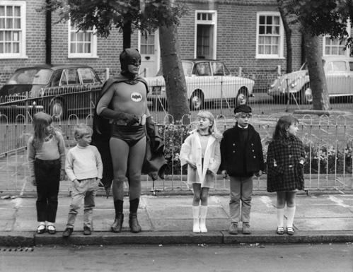 Batman and Kids Crossing Road