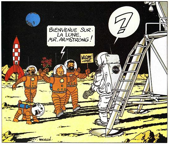 Tintin and Gang greet Neil Armstrong on the Moon