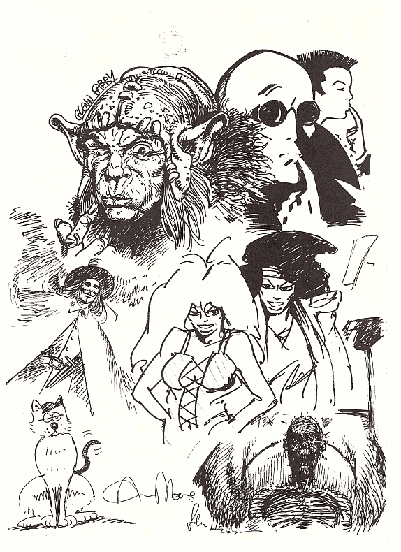 1986 UKCAC Portfolio page with Ukko from Sláine, Mr X, V for Vendetta, Maxwell the Magic Cat, and more...