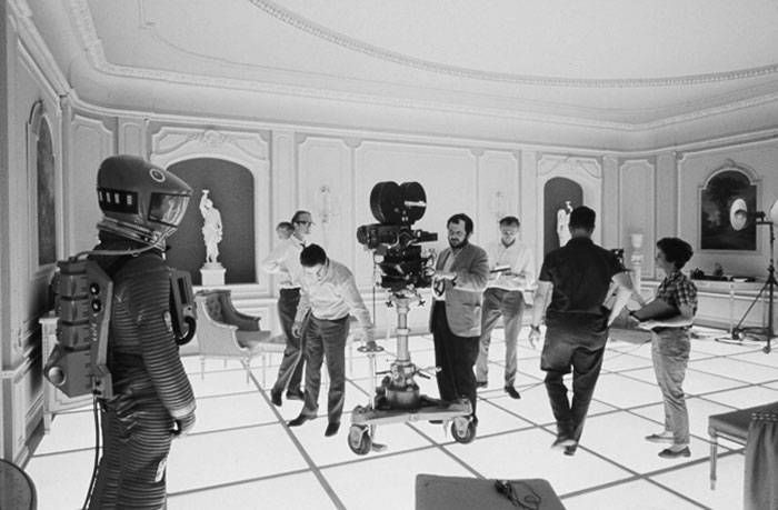 Kubrick filming on the set of 2001