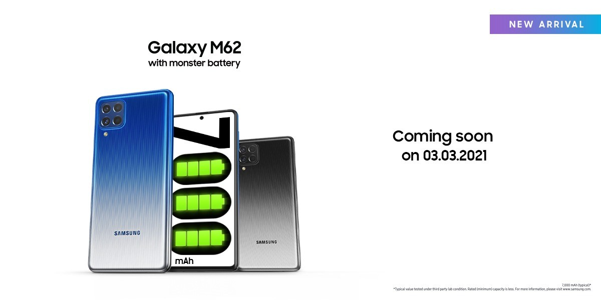 Samsung Galaxy M62 is the F62 for the rest of the world, launched on March 3