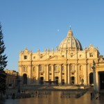 Rome-St.-Peters-Basilica-In-Morning-Moon-over-church