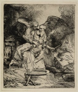 Again Rembrandt, is one of his famous etchings. Here Isaac has already left.