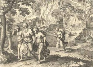 Lot and his daughters fleeing Sodom Matthaeus Merian 17th century