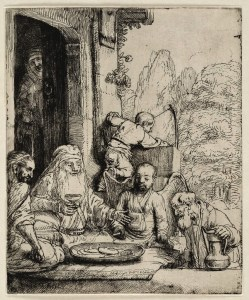 The other confrontation between Araham and God: Abraham negotiating over Sodom. An etching by Rembrandt