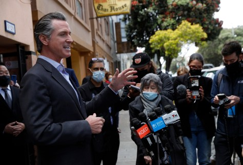 Gov. Gavin Newsom speaks during a press conference at Tommy's Mexican Restaurant on Geary Boulevard in San Francisco, Calif., on Thursday, June 3, 2021. Newsom outlined the state's ongoing support for restaurants and bars as California fully reopens the economy this month. (Jane Tyska — Bay Area News Group)