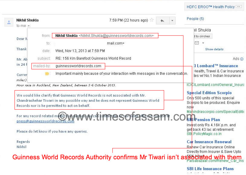 Guinness World Records confirms Dr B K Chandrasekhar Tiwari as Fake