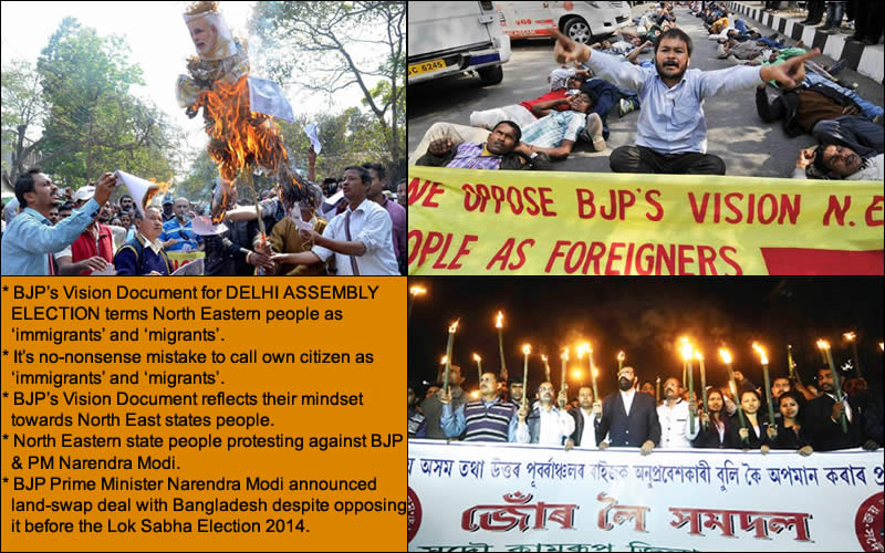 """The BJP's vision document for Delhi assembly election that described people from the North East India as """"immigrants"""" and """"migrants"""" fired protests in the region on Wednesday, February 04, 2015.   Tension prevailed at the State BJP headquarters for over an hour as hundreds of National Students' Union of India activists staged a dharna blocking entry to the BJP office. The activists shouted slogans and also burnt the BJP party flags. The NSUI workers tried to break police barricade and demanded an unconditional apology by the BJP. Later, police reinforcements arrived at the scene and pushed the NSUI activists away.  Senior State Congress leaders led a procession in the city to Deputy Commissioner's office. The All-Assam Students' Union (AASU) took out a torchlight procession in the evening across the State to press for unconditional apology by the BJP. """"The BJP leaders have been trying to explain saying it was a clerical, printing mistake. We say it is a historic mistake. Terming the people of the Northeast as immigrants is an unpardonable crime. The BJP must tender unconditional apology to the entire people of the Northeast,"""" demanded AASU adviser Samujjal Bhattacharjya, who led the torchlight procession in the city.  A group of students took to the streets in Guwahati and burnt Prime Minister Narendra Modi and Union minister Sarbananda Sonowal's effigies.   The All Assam Students' Union (AASU) activists took out a separate candle-light rally to protest the reference. """"We cannot tolerate such behaviour anymore by national parties like the BJP,'' said AASU advisor Samujjal Bhattacharyya . """"It has revealed the BJP's negligence and anti-people approach. We demand the party apologize to the people of the region,'' he said even as the BJP insisted it was a clerical mistake that has been rectified.   Krishak Mukti Sangram Samiti (KMSS) activists blocked roads in busy Dighalipukhri area for hours, while refusing to accept the BJP's explanation.  """"The word immigrant exposes"""