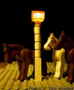 lego scene of horses