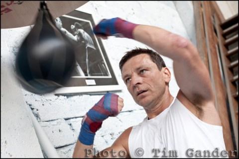 Company director Allan Meek boxing in Cardiff, Wales.