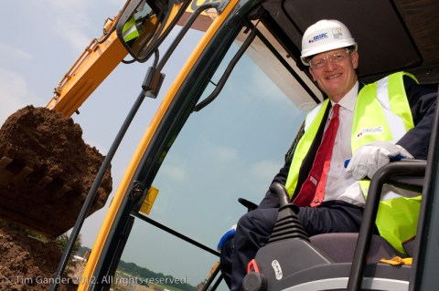 David Willetts MP in digger