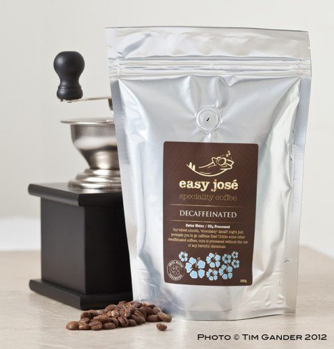easy jose coffee beans in a bag with grinder