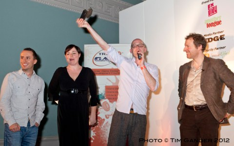 TIGA gaming industry award winners receive their prize