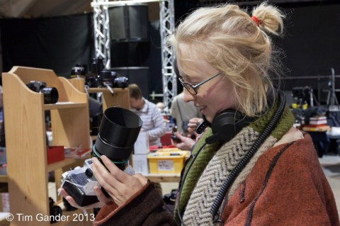 Vicky Long studies a 500mm mirror lens