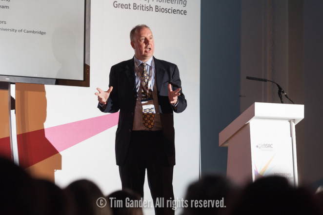 Keynote speaker addresses the Fostering Innovation Awards 2014 audience at Royal Horticultural Halls, London