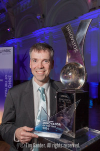 Portrait of Innovator of the Year 2014 Luke Alphey of The Pirbright Institute with his award trophy