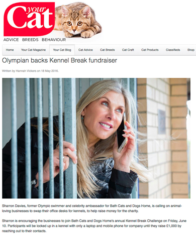 Screen grab from Your Cat magazine featuring Sharron Davies.