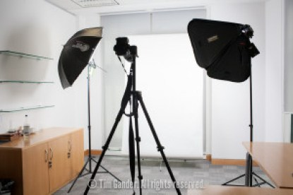 a portable studio lighting set-up in an office
