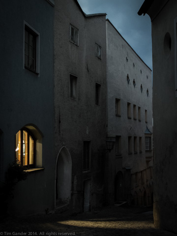 A street at dusk in the historic part of Hall in Tirol