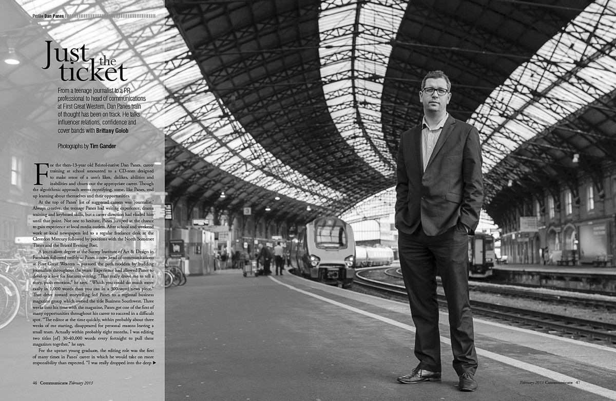 The photo of Dan Panes as it appeared in Communicate Magazine with text laid over the left column.