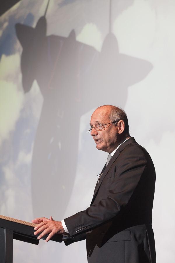 McLaren CEO Ron Dennis addresses a lecture audience at University of Bath