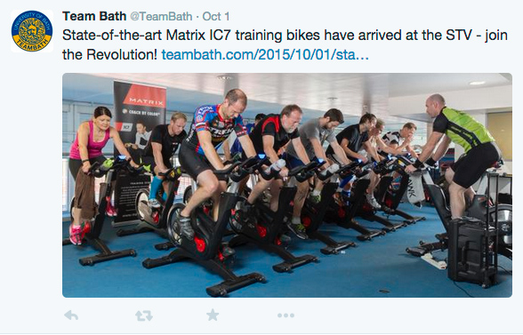 Team Bath tweets including a photo of the new IC7 cycle training bikes at the Sports Training Village.
