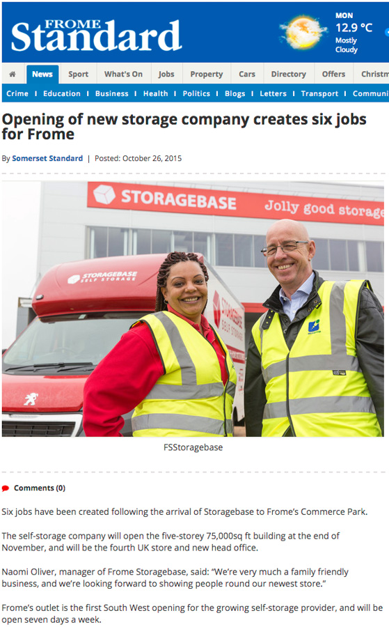 The press release with picture appears in the online edition of the Frome Standard.