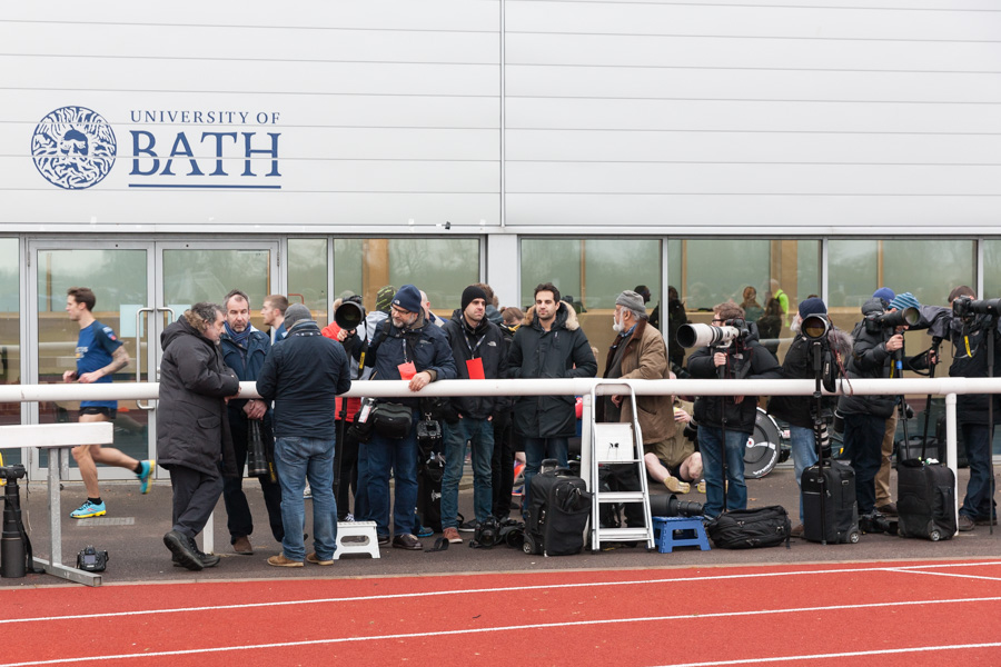 Press photographers gather for Prince Harry visit to Invictus Games trials, University of Bath.