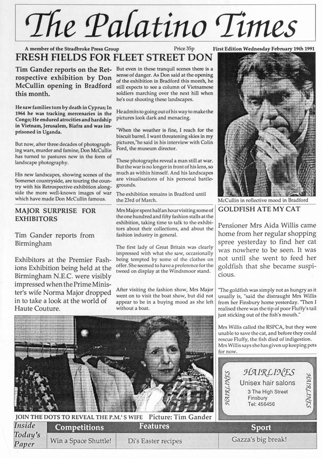 Scan of a newspaper design project made in 1991 at Stradbroke College, Sheffield featuring Don McCullin and Norma Major.