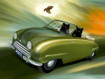 Moment in Time (Saab 92, 1950), unique artwork (original art)