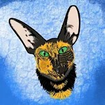 Cartoon pet portrait Oriental Cat