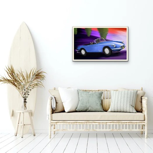Mixed media Limited Edition blue Cruisin' & surfin' (Ferrari GTS 365 in a room with a surfboard)