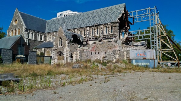 Cathédrale de Christchurch en reconstruction