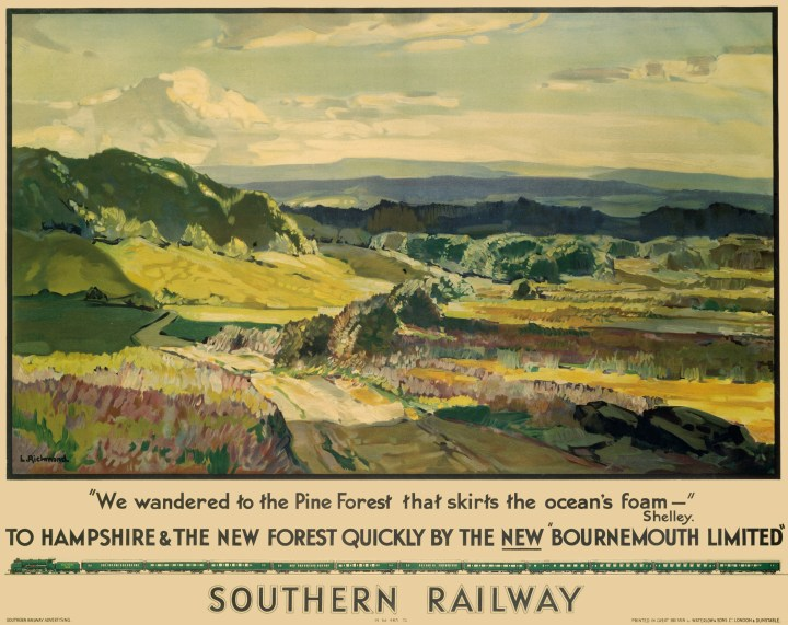 """'To Hampshire and the New Forest Quickly by the New """"Bournemouth Limited""""'. Poster produced for Southern Railway (SR) promoting train services to Hampshire and the New Forest. The poster shows a panoramic view of the countryside with a quote by Percy Bysshe Shelley (1792-1822). Artwork by Leonard Richmond, who studied at the Taunton School of Art and Chelsea Polytechnic and exhibited widely both in London and abroad. He painted landscapes and figures and designed posters for the Great Western Railway (GWR) and Southern Railway (SR). Dimensions: 1016 mm x 1270 mm."""