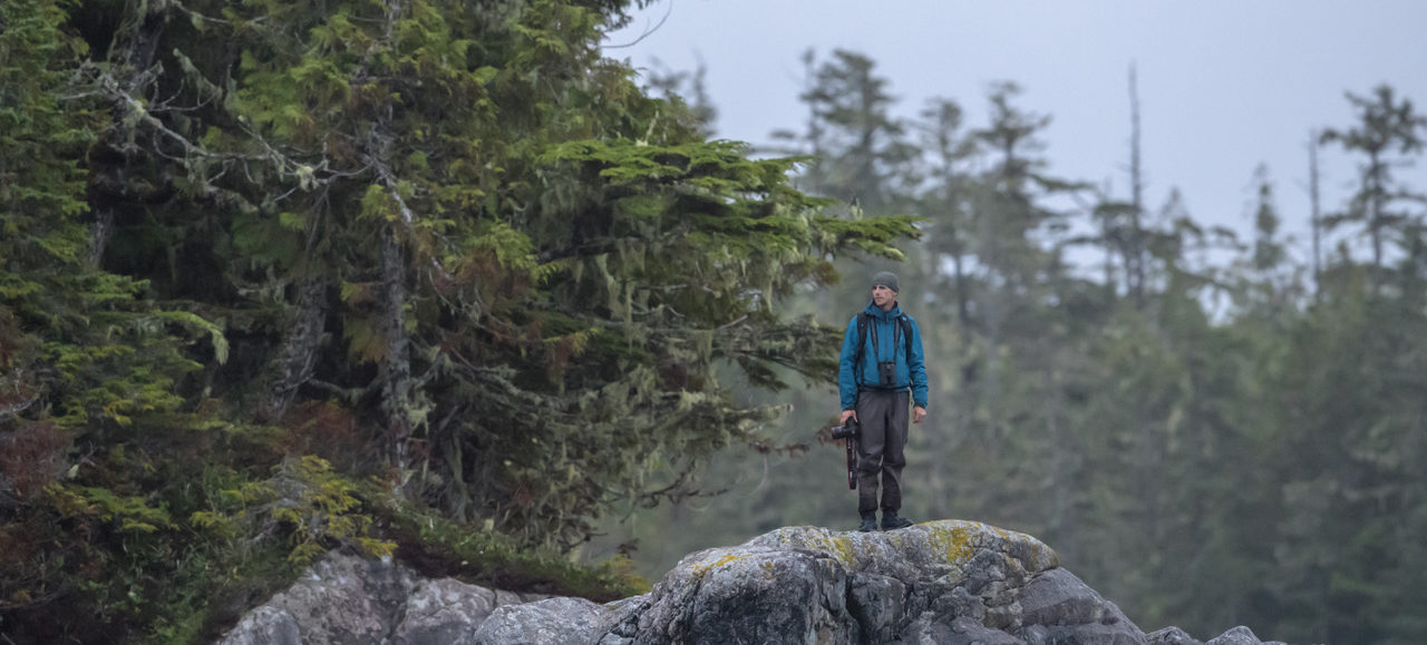 Tim Irvin with his camera in the Great Bear Rainforest