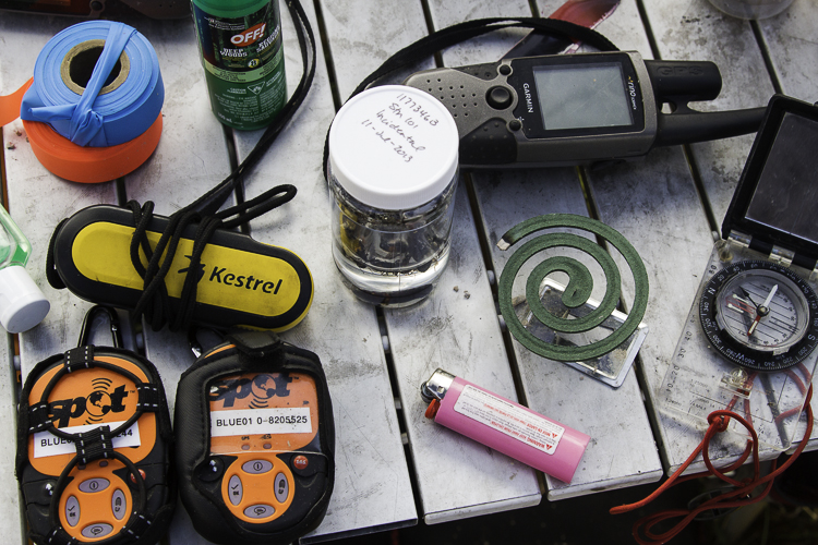 Field Research equipment including Spot, gps and compass and mosquito coils