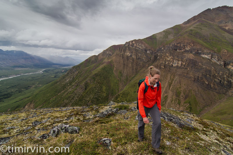 Woman hiking in the Snake River valley, Yukon