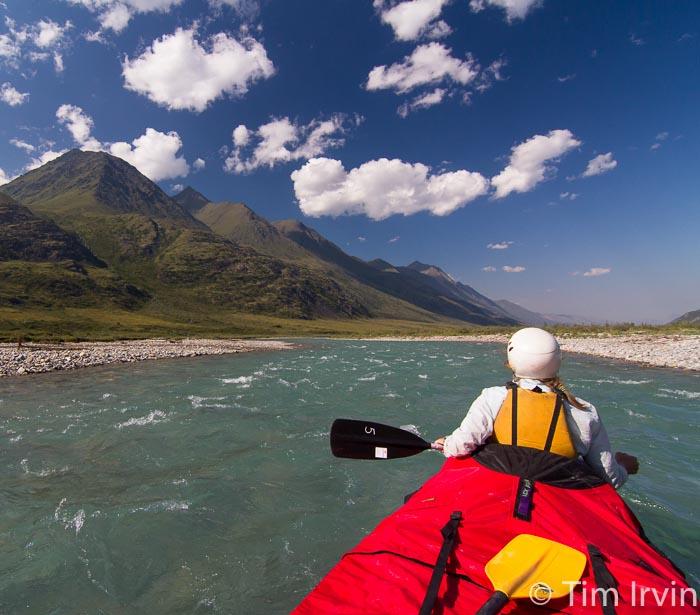Canoeing the turquoise Snake River, yukon