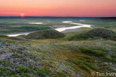 Sunset over the Baillie River, Thelon Wildlife Sanctuary, Nunavut