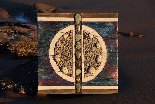 'Gateway to Tidal Vortex' - 23.25 x 23.25 inches (59 x 59 cm) Raku fired clay, natural and polished stone