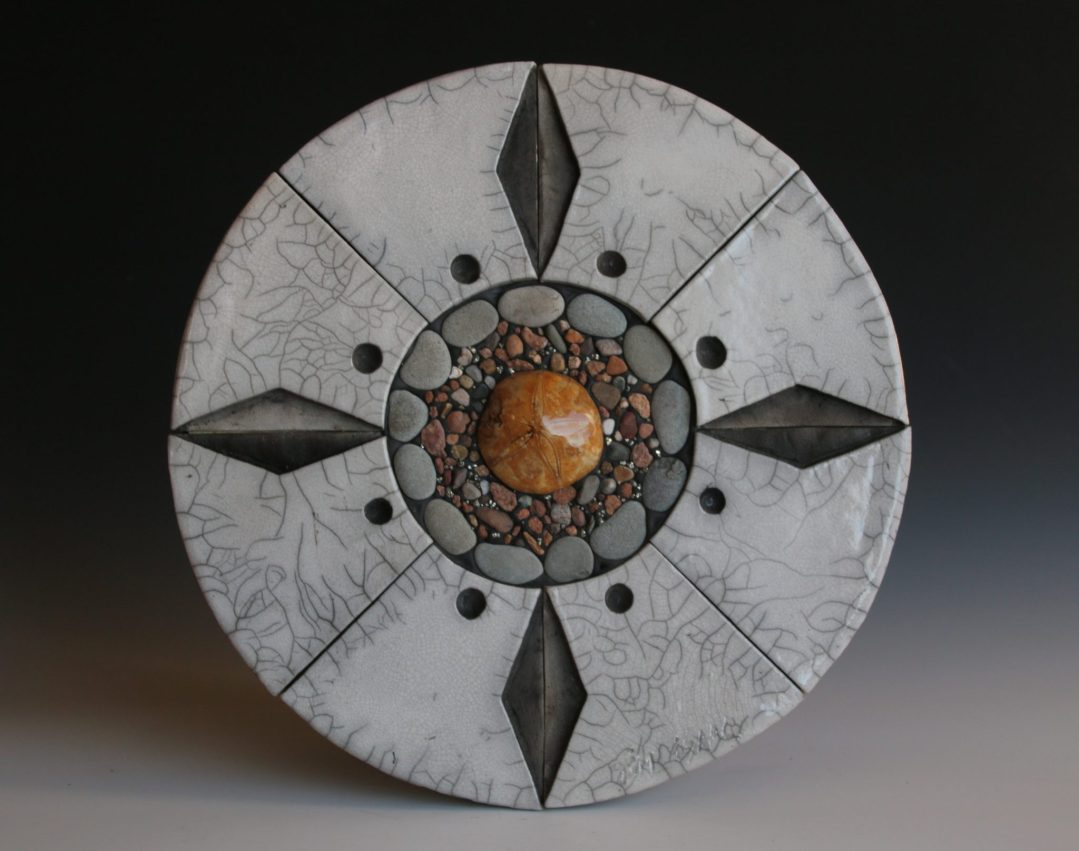 Fundy Mandala with Raku Tiles, Sea Urchin Fossil, Pyrite and Beach Pebbles. 21 inches diameter.