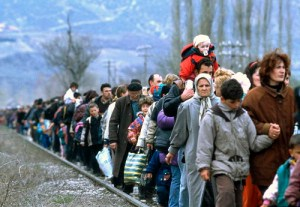 Kosovar refugees fleeing their homeland. [Blace area, The former Yugoslav Republic of Macedonia]