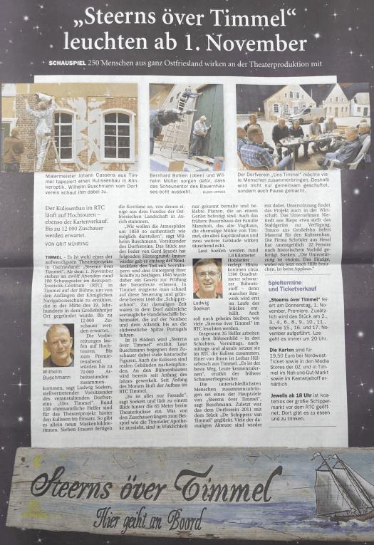Zeitungsbericht: Steerns över Timmel Quelle: Ostfriesen-Zeitung vom 18.10.2018