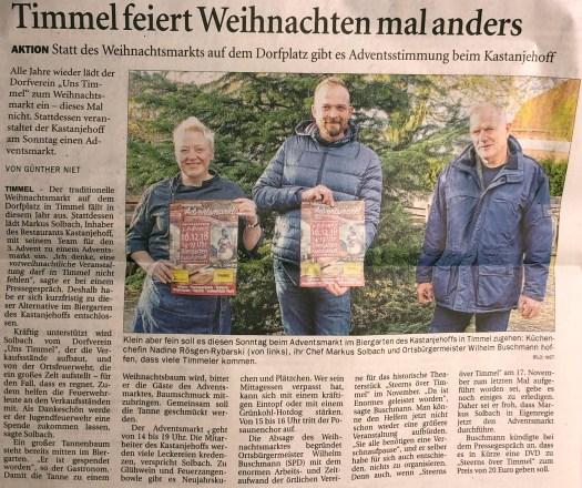 Adventsmarkt in Timmel (Quelle: Ostfriesen-Zeitung vom 12.12.2018)