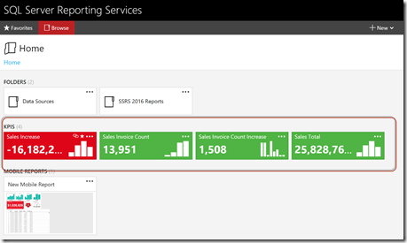 KPIs in SSRS 2016 are shown directly on the home page