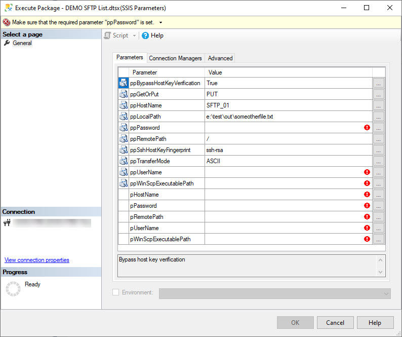 Execute SSIS package with parameters