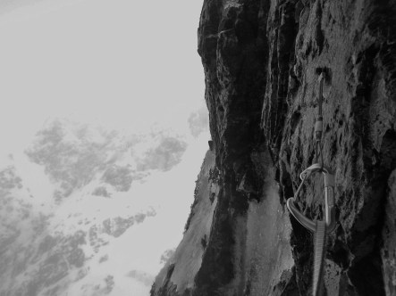 Old school bolting....Comb Gully crux gear.
